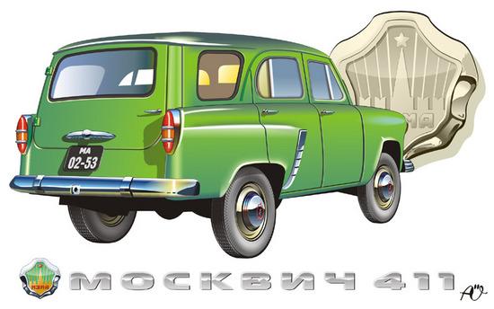 Машины: moskvich 411(Векторная графика и иллюстрация)