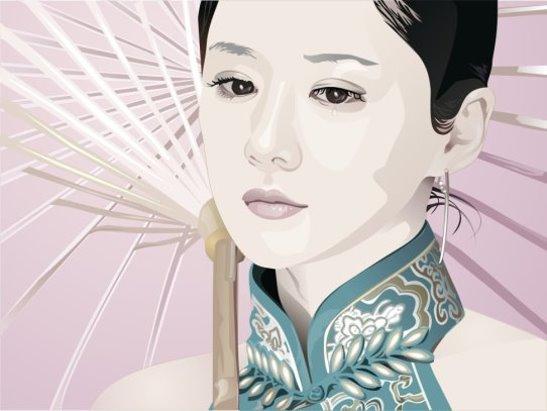 VGlow: Зонтик , слезка и японочка(Векторная графика и иллюстрация)