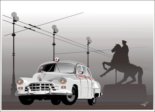 Машины: ГаЗ-12Б, ЗиМ, скорая помошь, gaz-12b, zim(Векторная графика и иллюстрация)