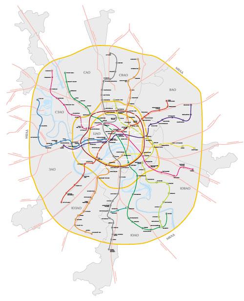 Векторная карта - схема Москвы (метро.