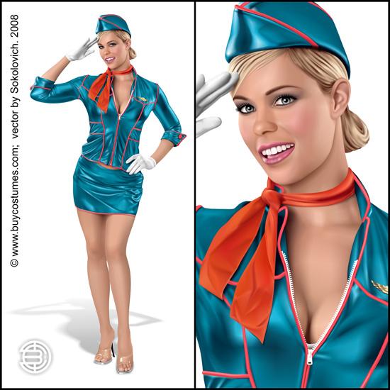 Vector Constructor: Pin-up Stewardess(Векторная графика и иллюстрация)