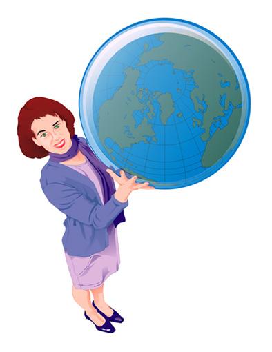 Vector Constructor: Баба с глобусом(Векторная графика и иллюстрация)