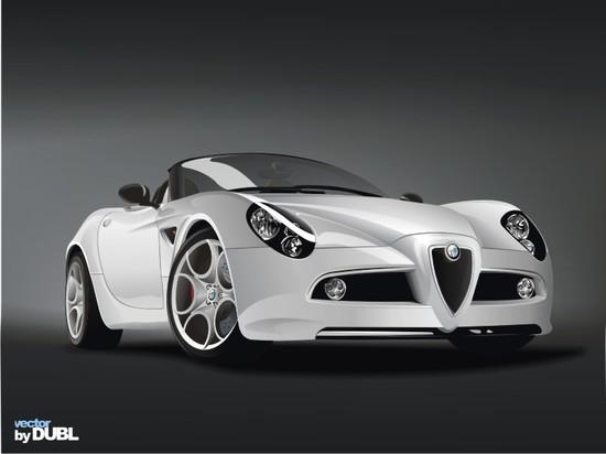 Машины: Alfa-Romeo-8c-Spider(Векторная графика и иллюстрация)