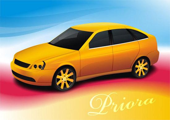Машины: priora(Векторная графика и иллюстрация)
