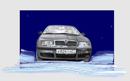 Машины: Крещенские морозы(Векторная графика и иллюстрация)