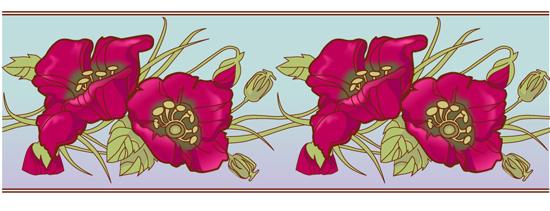 Узоры: цветочный орнамент с маками(Векторная графика и иллюстрация)