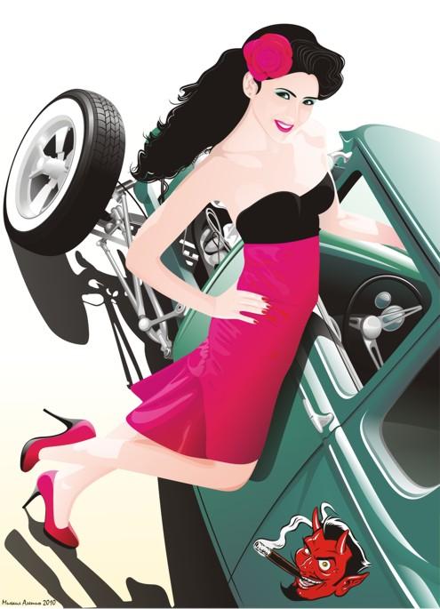 Машины: Девушка и форд(Векторная графика и иллюстрация)