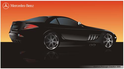 Машины: mercedes-benz slr c199 23(Векторная графика и иллюстрация)
