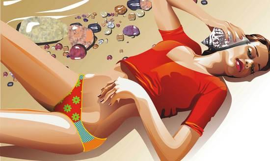 copy: Девочка на пляже(Векторная графика и иллюстрация)
