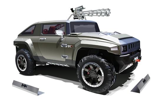 Машины: Hummer ft minigun(Векторная графика и иллюстрация)