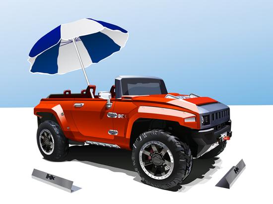 Машины: Hummer cabrio(Векторная графика и иллюстрация)