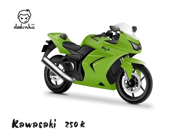 Машины: Kawasaki 250R(Векторная графика и иллюстрация)