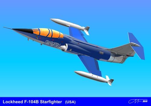 Машины: Локхид Старфайтер F-104B (Lockheed Stafighters F-104B)(Векторная графика и иллюстрация)
